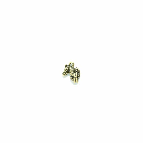 (Shipwreck Beads Pewter No.1 Horse Charm, Antique Gold, 12 by 15mm, 4-Piece)