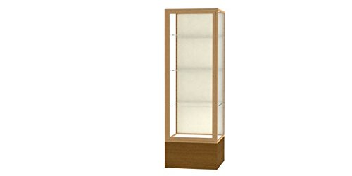Waddell 4024PB-GD-AK Keepsake 24 x 72 x 24 in. Autumn Oak Floor Display Case with Veneer Base44; Plaque Back - Champagne Gold