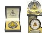 Masonic Silver Finish Pocket Watch with Goldtone Square and Quartz Movement