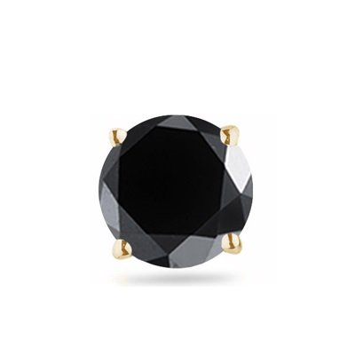 Cts of 3.50-4.00 mm Round AA Black Diamond Mens Stud Earring in 18K Yellow Gold 3//8 0.35-0.45