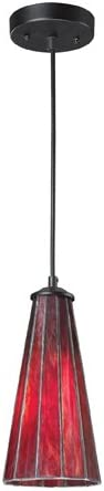 Elk 70000-1Ir Lumino 1-Light Pendant, 12-Inch, Inferno Red With Matte Black Finish