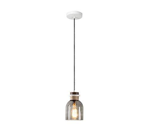 (Pendant Light Industrial Design E27 Chandelier Bar Restaurant Study Desk Desk Lamp - Amber/Smoke Gray - Simple Glass Log Pendant Lamp -02)