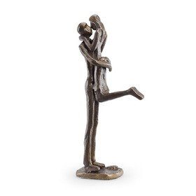 Danya B. ZD12056 Metal Art Shelf Décor - Contemporary Sand-Casted Bronze Sculpture - Passionate Kiss