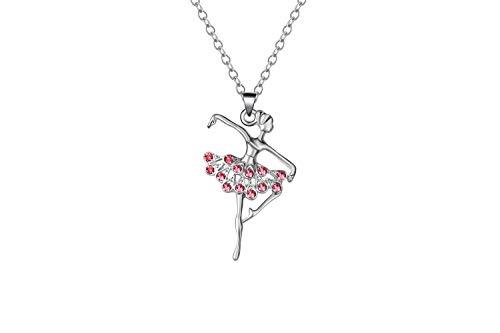 Card Flat Ballerina (KAVNAR Little Girl Necklace Dancer Ballet Recital Gift Ballerina Dance Necklaces Teen Girls Jewelry)