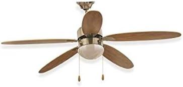Kooper 2193209 - Ventilador de techo (130 cm, con 5 aspas de luz), color marrón