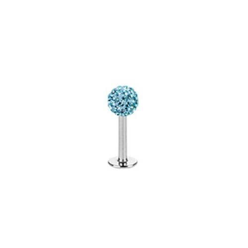 "Cool corps style unisexe, lèvres Piercing Labret Monroe 6mm multi Ferido cristaux 9 couleurs turquoise ""Ferido Crystal"""