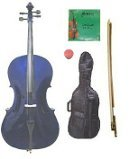 GRACE 4/4 Size Purple Cello with Bag and Bow+Rosin+Extra Set of Strings by Grace