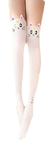 Everything Legwear Nylon Stocking Sailor Moon- Artemis White M/L ()