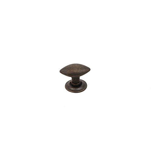 (Century Hardware Primitive Drawer/Organizer 30mm Oval football knob Pack of 10 (Weathered Brass))