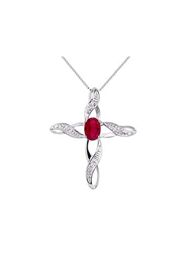 RYLOS Simply Elegant Beautiful Red Ruby & Diamond Pendant Necklace - July Birthstone