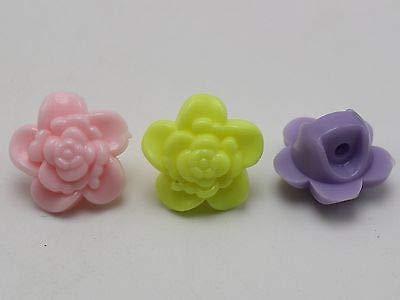 FidgetFidget Button Beads Charms 50 Mixed Pastel Color Acrylic Flower - Pastel Mm 17