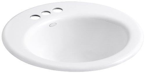 (KOHLER K-2917-4-0 Radiant Self-Rimming Bathroom Sink, White)