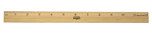 (School Smart Single Beveled Plain Edge Wood Scale Ruler, 12 in L X 7/8 in W X 5/32 in Thickness, 1/8 in Scaled, Clear Lacquer)