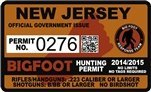 "New Jersey Bigfoot Hunting Permit 2.4"" x 4"" Decal Sticker"