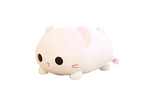 Kavasi Cute and Lovely Kawaii Lying Cat Plush Soft Pillow Animal Stuffed Toys (35cm, White)