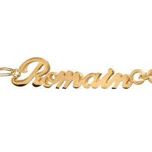 Bracelet 2 prénoms découpés en plaqué or (prénoms modifiables) + 1 coeur