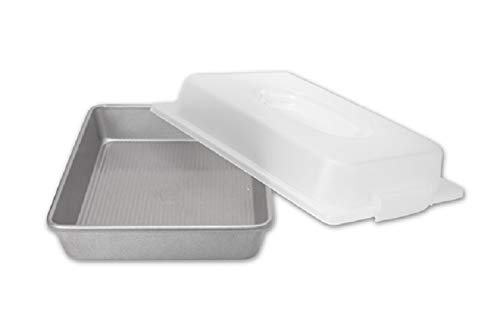 USA Pan Bakeware Nonstick Rectangular Pan with Lid, 9×13-Inches