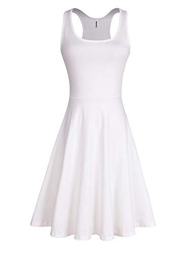 Women's Summer Casual Sleeveless Cocktail Dress Midi Flared Tank Skater Dress (White, - Dress Summer White Strapless