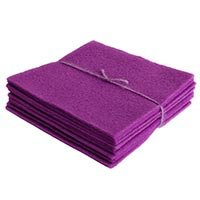 e - 10 Wool Felt Sheets - Pure 100% Wool - Qty 10 5in x 5in (Violet Wool)