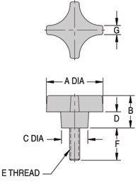 CL-1-PPK2T Carr Lane Manufacturing Four Prong Knob Phenolic Stud Type Thread 1//4-20