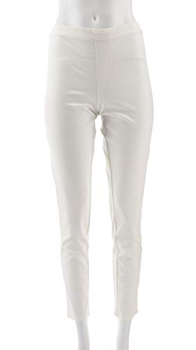Isaac Mizrahi 24/7 Stretch Print Solid Ankle Pants Bright White 14 New A302696 from Isaac Mizrahi Live!
