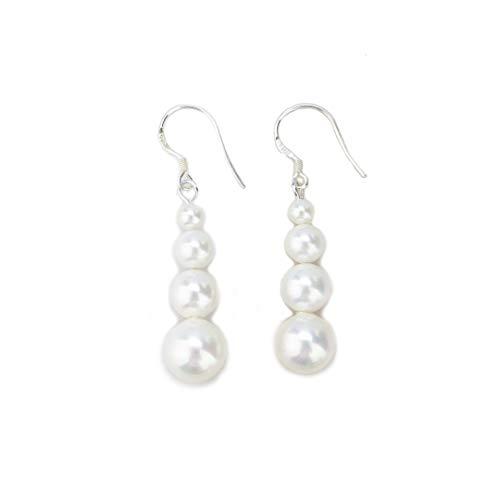 Rakum Sterling Silver Pearl Dangle Earrings 6-9mm White Seashell Pearl Drop Earrings