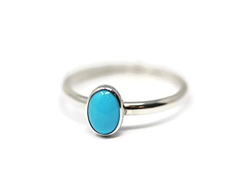 (Oval Sleeping Beauty Turquoise and Sterling Silver Ring )