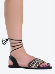 NUEVO Wrap en estilo Sandale Tie dedos Tapiz Gilli Negro Zapatos los abierto Boho UUZrwgqx
