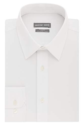 - Geoffrey Beene Men's Slim Fit Flex Collar Stretch Solid, White, 17