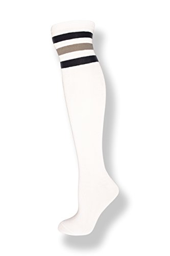NeonNation Unisex White Knee High Team Tube Socks w/Three Various Colored Stripes (White w/Navy & Gray Stripes) ()