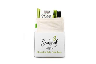 Soulleaf Reusable Bulk Food Bags - For Grocery Shopping & Bulk Bin Storage, Natural Cotton Muslin, Biodegradable, Machine Washable, Tare Weight on Label, Eco-Friendly, Set of 7 (3S, 2M, 2L)