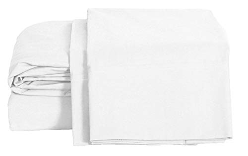 Crib Cotton Percale Sheet - 100% Cotton Percale Sheets Queen Size, White, Deep Pocket, 4 Piece - 1 Flat, 1 Deep Pocket Fitted Sheet and 2 Pillowcases, Crisp and Strong Bed Linen