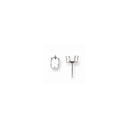 - Sterling Silver Oval 6-Prong Snap-In 7 x 5mm Earring Setting (sold as single piece)