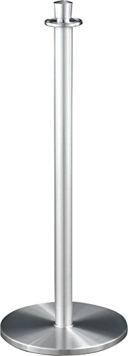 Glaro 1327SA-P3BLUESA6 Crown Top Stanchion - Satin Aluminum finish - 6' Blue Faux Leather Rope Included by Glaro
