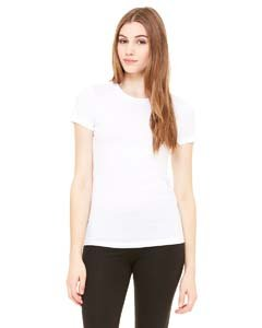 (Bella Ladies Super soft 1x1 baby rib knit fabric T Shirt - White - Large )