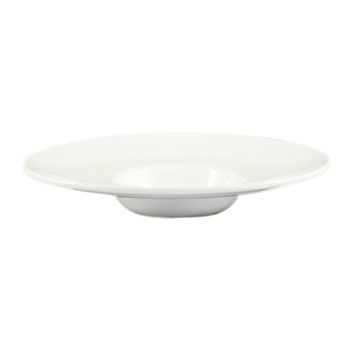 CAC China FDP-122 Paris-French Round 5.5-Ounce Super White Porcelain Flat Design Pasta Bowl, 11 by 11 by 2-1/8-Inch, 12-Pack by CAC China