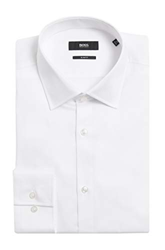 Hugo Boss Men's 'Jenno' White Slim Fit Textured Cotton Dress Shirt 17.5, 35/36