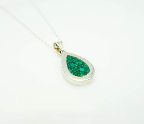 Water Drop Malachite Mosaic Sterling Silver Necklace, Semi Precious Gemstone Necklace 15.7