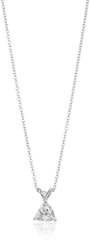 Platinum-Plated Sterling Silver Trillion-Shape Solitaire Pendant Neckalce made with Swarovski Zirconia, 16