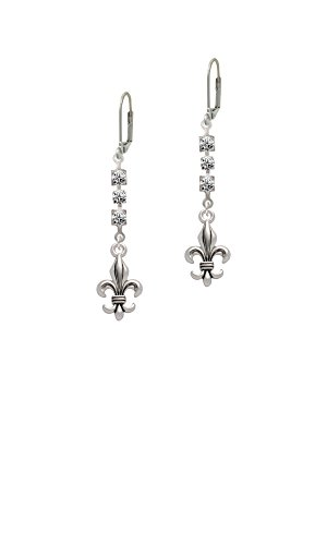 Large Antiqued Fleur di Lis - Crystal Madison Leverback (Large Crystal Fleur De Lis)