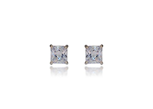 Body Fashion Surgical Steel Square Basket Set Crystal Diamond Unisex Men's Stud Earrings,8mm