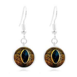 (1 pair Tibet Silver Dome Photo Art 16MM Glass Cabochon Long Earrings snake Eye)
