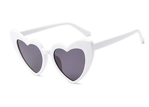 JUSLINK Heart Shaped Sunglasses for Women, Cat Eye Mod Style Retro Kurt Cobain Glasses(White) -