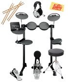 Yamaha DTX450K Electronic Drum Set Bundle with Drum Throne, Drum Sticks, Headphones, and Polishing Cloth