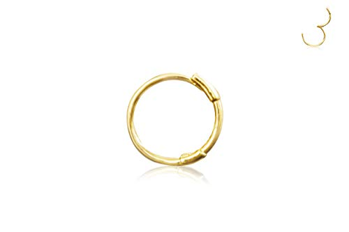 14K Solid Gold Jewelry 10mm Open Round Circle Tragus Cartilage Snug Inner Outer Conch Daith Helix Ear Segment Clicker Huggie Hoop Ring Piercing Earring For Women
