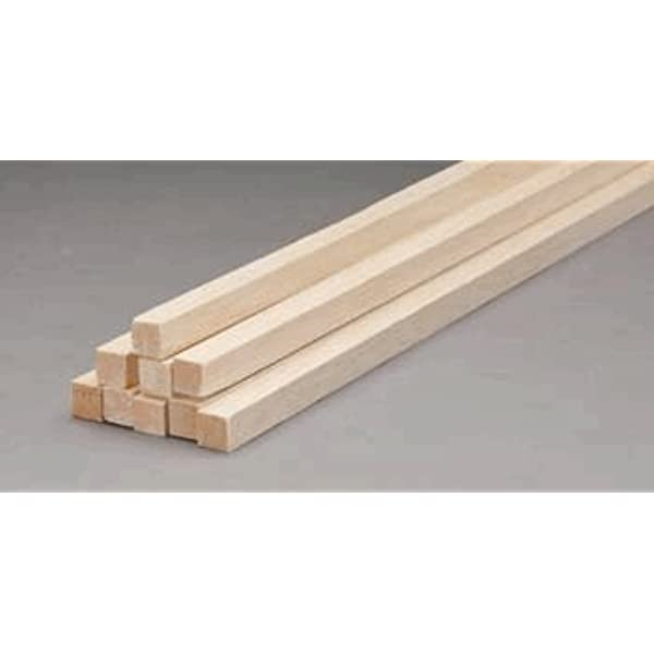 "Balsa Wood Strip Tracked 48 Post 12 pc x 1//2/"" Thick x 1//2/"" Wide x 36/"" Long"