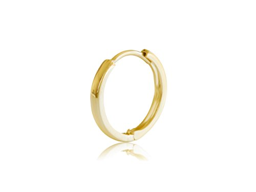 - ONDAISY 1 Pcs 22G 6mm Slim 14K Real Solid Yellow Gold Round Circle Hoop Tragus Helix Lever Ear Studs Post Piercing Earring