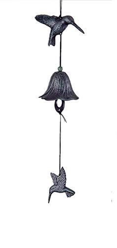 Cast Iron Black Humming Bird Wind Chime Hanging Bell (Cast Iron, Humming Bird)