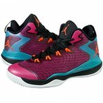 Nike Air Jordan Super Fly 3 (BG) Boys Basketball Shoes 684936-625 Fusion Pink Electric Orange-Black-Tropical Teal 4 M US