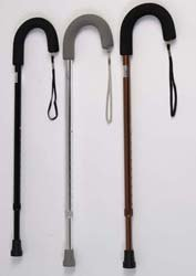 Walking Cane - Standard Cane with Soft Grip. Hypalon grip with wrist straps.